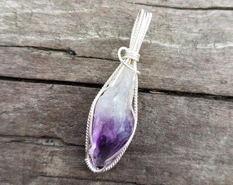 Raw Amethyst & Sterling Silver Wire Wrap Pendant- deep purple protection necklace Crown chakra energy, handmade gemstone goddess jewelery