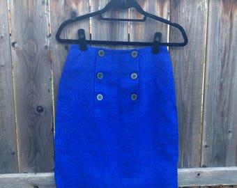 Vintage Ann Taylor Blue Sailor Nautical Pencil Skirt // 1980s // Button Front // Linen//Vintage Work Wear//Sailor Skirt
