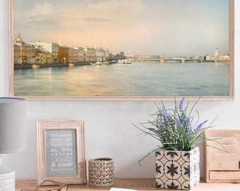 Panoramic photography print, St Petersburg city art, large wall art, city landscape photo, pastel living room decor, 10x20, 12x24, 20x40 art