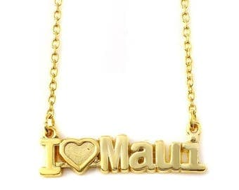 ON SALE I Love Maui nameplate Necklace in Sterling Silver