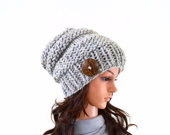 SALE Chunky Extra Slouchy Buttoned Hat Beanie Toque // The Alta // in Grey Marble