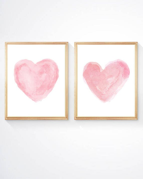 Pink Nursery Prints, Set of 2 - 8x10, Pink Watercolor Hearts