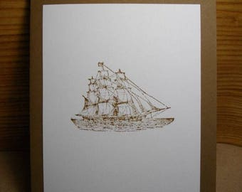 Vintage Ship (hand-stamped) 8-Card Box