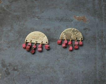 OYA earrings - brass and red howlite