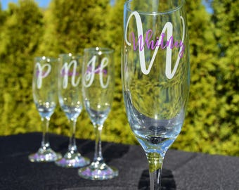 Bridesmaid Gift - Bridesmaid Flutes - Bridesmaid Champage Flute - Personalized Toasting Flute - Monogrammed Bridesmaid Gifts - Wedding Party