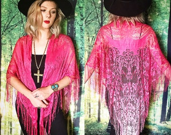 1970s Hot Pink Ombre Stevie Nicks Bohemian Fringe Gypsy Shawl