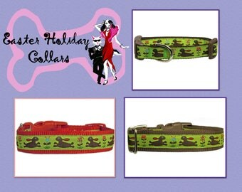 "Easter Bunny Dog Collar 5/8"", 3/4"" or 1"" Brown Dog Collar"