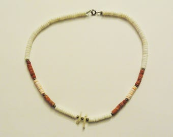 Vintage White & Pink Shell Beaded Necklace