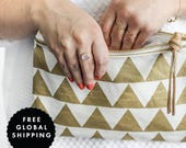 Gold Triangle Fabric & Leather Pouch - Leather Clutch