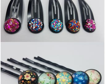 1.2cm Cabochan Glass Hair Pin Bobby Pin Hair Clip 1 Set (5 Pieces) Perfect Christmas Gift Holiday Gift