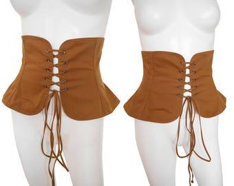Yves Saint Laurent 1970s Vintage Wide Peasant Corset Belt Lace Up Belt Copper Brown Cotton Russian Collection US Size 4 XS