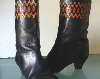 Vintage Made in Italy Heeled  Boots Size 8.5 B