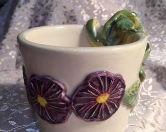 Handmade Ceramic Mug With Purple Morning Glory Flowers