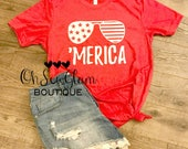 Merica - Fourth of July Shirt - Patriotic T - Womens and Mens Shirt - Custom - Personalized - 4th of July Tee - 'Merica Tee design