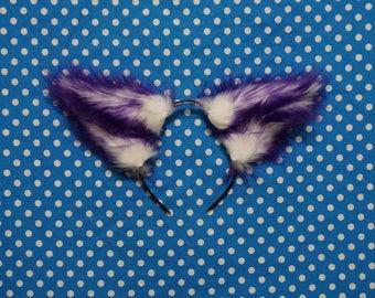 Purple and White Furry Costume Animal Wolf Fox Ears