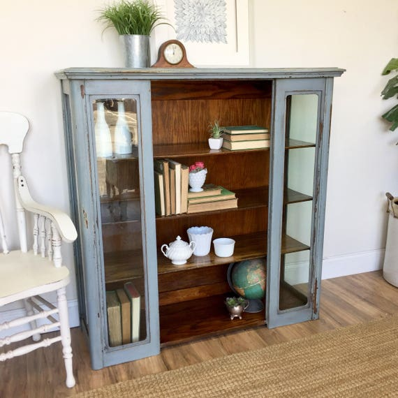 Painted Bookcase - Farmhouse Furniture - Rustic Bookcase - Glass Front Cabinet - Antique Bookshelf, Vintage Furniture, China Display Cabinet