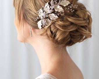 Gold Leaf Bridal Hair Clip, Floral Hair Comb, Bridal Hair Accessory, Gold Bridal Clip, Wedding Hair Comb, Bridal Headpiece ~TC-2277