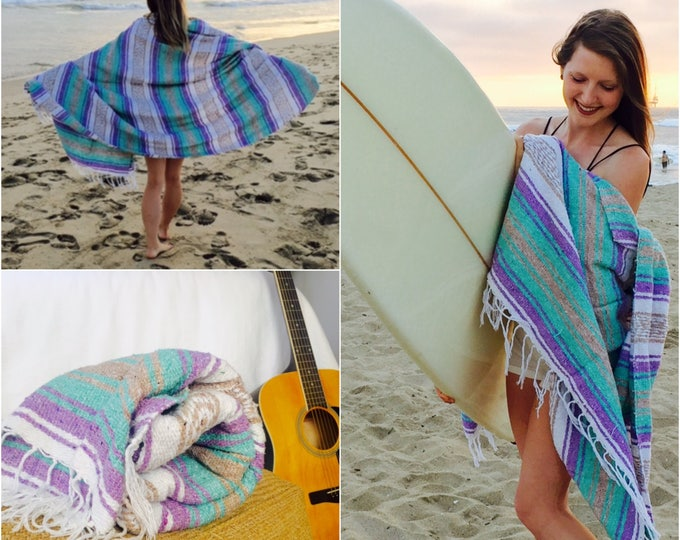 Lavender Tides / Falsa Blanket /Falsa Blankets / Mexican Blanket Fabric / Throw Blankets / Mexican Blankets/ Textiles  / Sea Gypsy Blankets