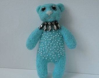 Needle felted bear brooch,blue bear with necklace.