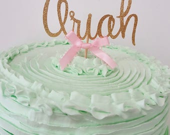 Gold Glitter NAME Cake Topper in script font Ready to ship