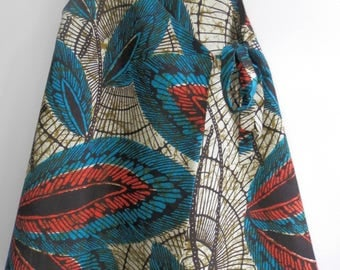 Dress reversible chocolate linen fabric African fabric and bloomers 2/4