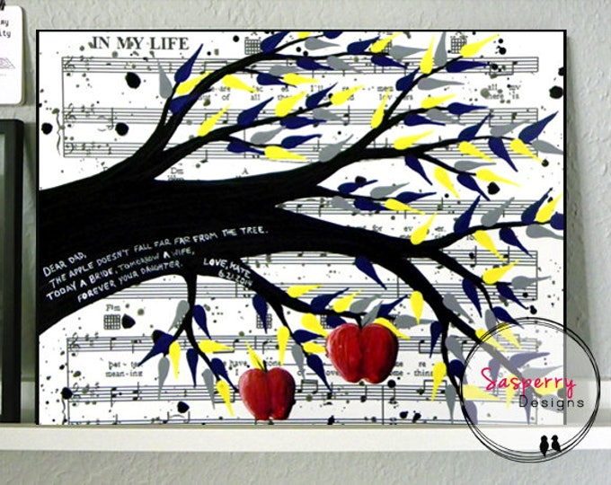 Parents of the Bride Gift - Customizable Apple Tree Canvas Wall Art Thank You Gift for Mom Dad Grooms Mother w/ Song Lyrics or Music Sheet