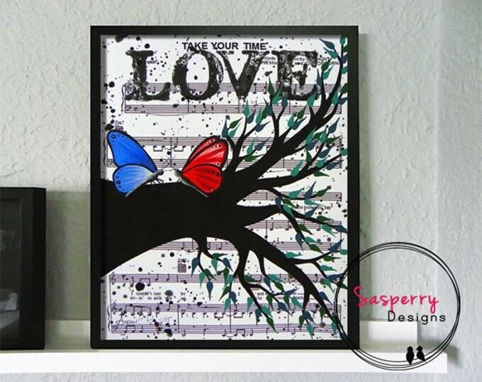 Butterfly Nursery Art, Music Sheet Painting, Butterfly Wall Art