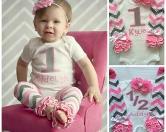 Baby Girl 1st Birthday Outfit - 1st birthday photo prop - baby legwarmers - smash cake outfit - birthday girl outfit - pink grey chevron