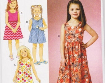 Butterick 6202 ,sewing Pattern, 2-5 or 6-8 Child, Girl sleeveless dress,Culottes,Jumper
