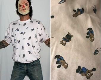 Vintage All Over Print Teddy Bear Short Sleeve Crewneck Sweatshirt. Pale Pink Kitschy Cute Girl Crewneck Sweatshirt. Slouchy Bear Shirt