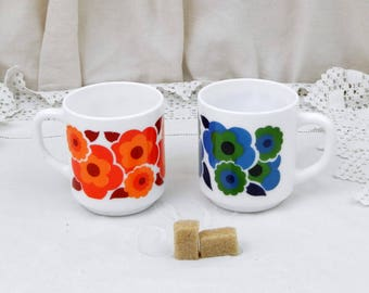 2 Vintage Arcopal Mid Century French White Milk Glass with Orange, Red, Blue and Green Retro Flower Pattern  Coffee Mugs, Pair 1960s Cups