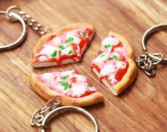 Margherita Pizza Friendship Keychains 2,3,4,5 or 6 friends- Food Jewelry,Pizza Keychain, Bff Keychains, Friendship Keychains