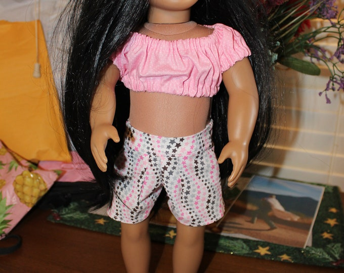 Ready for Spring, Pink Print Crop Top ,multi color Print Shorts , Matching Shoes made for the AG and other 18 inch dolls FREE SHIPPING