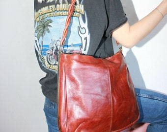 Vintage 90s Mahogany Leather Handbag