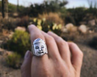 Sterling Buddha Ring, Sterling Zen Jewelry, Handmade Statement Ring, Spiritual Jewelry, Yoga Gift For Women, Hindu Jewelry.