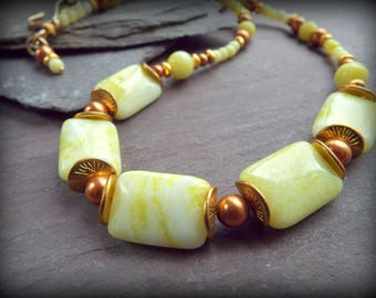 YELLOW JADE Necklace - Lemon Yellow Jade and Copper Swarovski Pearls. - Yellow Gemstone Necklace - Summer Necklace - Lime Yellow- byLaurieB