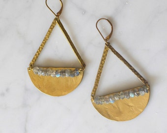 M I D N I G H T - Forged Brass + Labradorite Crescent Moon Pendant Drop Earrings