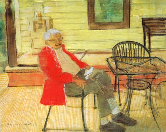 """Framed mixed media composition of a """"Man Resting"""""""