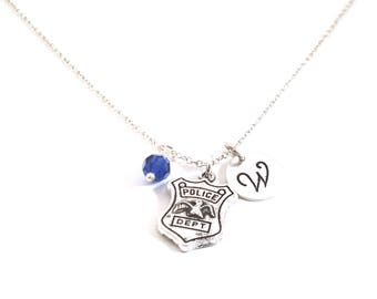 Police Badge Necklace - Birthstone Necklace - Personalized Necklace - Initial Necklace - Sterling Silver Necklace