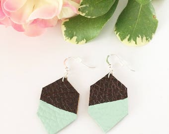 Leather earrings, hexagon earrings, dipped earrings, painted leather, hand painted earrings, brown leather earrings, mint green