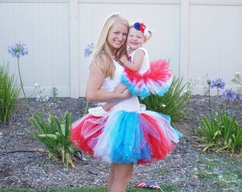 Fourth of July Sparkle Tutu - Patriotic Tutu - America Tutu - Adult Patriotic Tutu - Kids Red White and Blue Tutu