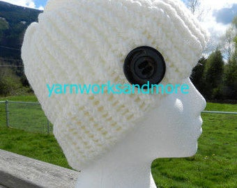 White Knit Hat With Black Button, Loom Knit Hat, White Hat, White Beanie, Handmade Hat, Winter Hat, Warm Hat, White Knit Cap, Gifts Under 20