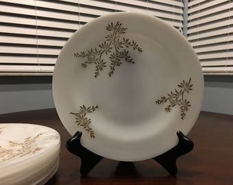 Golden Glory Plates, 7 Dinner Plates, Federal Glass Milk Glass With Gold Bamboo Design