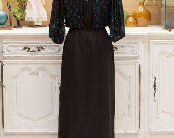 Vinatge 1980's Long Black Evening Dress