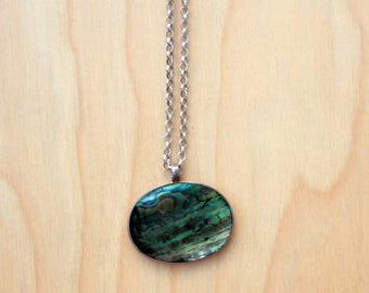 Modern Abalone Shell Pendant Necklace