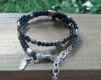 Woman's Double Wrap Black Leather Bracelet with Gunmetal beads and Swivel Lobster Clasp