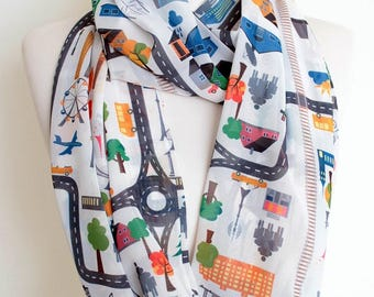 City Map nfinity Scarf Cityscape Countryside Gift For Her Wife Fashion Accessories