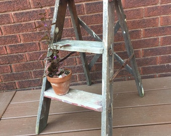 Step Stool, Kitchen Stool Shabby Chic, Wood Stool,  Wood Ladder, Step Ladder