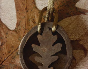 Oak leaf wood pendant