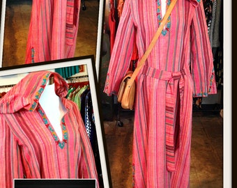 Vintage Treacy Lowe Print Caftan Maxi Long Dress Hoodie Red Stripe Embroidered London India FREE SHIPPING